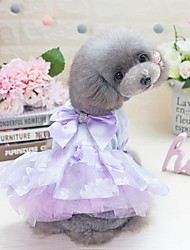 baratos -Cachorros Gatos Animais Pequenos Peludos Animais de Estimação Vestidos Roupas para Cães Flor Princesa Laço Roxo Rosa claro 100% Poliéster