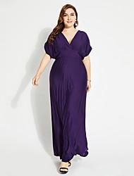 levne -Dámské Dovolená Swing Šaty - Jednobarevné, Nabírané šaty Maxi Do V