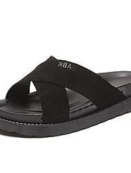 baratos -Mulheres Sapatos Camurça Verão Conforto Chinelos e flip-flops Sem Salto Preto / Verde