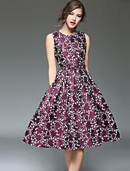povoljno -Žene Vintage / Ulični šik A kroj Haljina Cvjetni print Do koljena