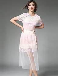 baratos -Mulheres Vintage Evasê Vestido - Renda / Vazado / Fenda, Sólido / Geométrica Acima do Joelho