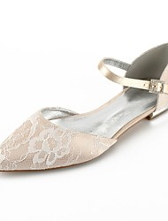 cheap -Women's Shoes Lace Summer Comfort / D'Orsay & Two-Piece Wedding Shoes Flat Heel Pointed Toe Ribbon Tie Silver / Champagne / Ivory