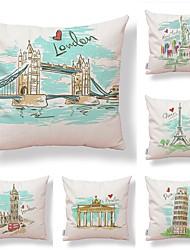 cheap -6 pcs Textile / Cotton / Linen Pillow case, Art Deco / Printing / Architecture Simple / Square Shaped