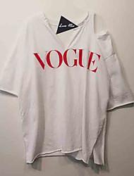 economico -T-shirt Per donna Alfabetico Rotonda / Senza spalline