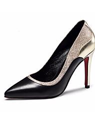 preiswerte -Damen Schuhe Leder Nappaleder Frühling Herbst Pumps Komfort High Heels Stöckelabsatz für Normal Weiß Schwarz