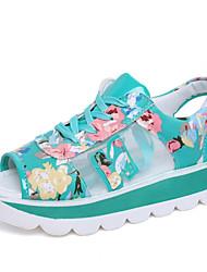 baratos -Mulheres Sapatos Couro Ecológico Verão Conforto Sandálias Salto Baixo Ponta Redonda para Ao ar livre Preto / Verde / Rosa claro