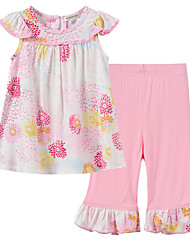 cheap -Baby Girls' Floral Short Sleeves Clothing Set