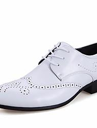 Недорогие -Муж. обувь Искусственное волокно Осень Удобная обувь Туфли на шнуровке Белый / Черный / Коричневый / Платья