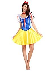 cheap -Princess Movie / TV Theme Costumes Costume Women's Halloween Carnival Children's Day Festival / Holiday Halloween Costumes Outfits Yellow Solid Colored Classic Halloween Dresses Halloween