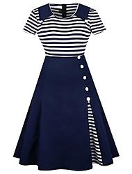 baratos -Mulheres Moda de Rua Bainha Vestido Listrado Médio