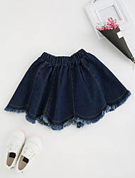 cheap -Girls' Daily Solid Skirt, Special Leather Types Spring Fall Sexy Blue