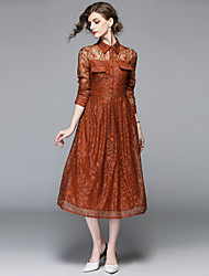 cheap -Women's Going out Vintage / Sophisticated Puff Sleeve Slim A Line / Swing Dress - Solid Colored Lace / Ruched / Mesh High Waist Shirt