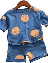 Недорогие -Дети Мальчики Горошек С короткими рукавами Набор одежды