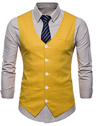 cheap -Men's Business / Basic Vest - Solid Colored