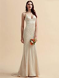 billiga -Trumpet / sjöjungfru Smala axelband Svepsläp Spets / Tyll Bröllopsklänningar tillverkade med Spets av LAN TING BRIDE®