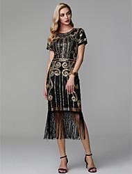 abordables -Fourreau / Colonne Bijoux Longueur Genou Satin Soirée Cocktail Robe avec Paillette / Plissé par TS Couture®