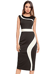 cheap -Women's Plus Size Basic Puff Sleeve Bodycon Dress - Solid Colored Black & White, Pleated