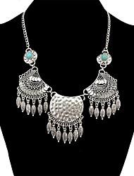 baratos -Mulheres Boêmio Turquesa Colares com Pendentes  -  Vintage / Boêmio / Fashion Forma Geométrica Prata 50+4.5cm Colar Para Diário /