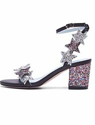 preiswerte -Damen Schuhe Paillette Herbst Pumps Komfort Sandalen Blockabsatz für Normal Silber Regenbogen