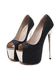 baratos -Mulheres Sapatos Couro Ecológico Outono Plataforma Básica Saltos Salto Agulha Peep Toe para Ao ar livre Preto / Vermelho