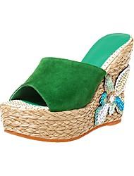 Недорогие -Универсальные Обувь Кожа других животных Лето Удобная обувь / Мокасины Тапочки и Шлепанцы Микропоры Круглый носок Черный / Зеленый