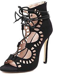 baratos -Mulheres Sapatos Micofibra Sintética PU Primavera Verão Botas da Moda / Tira no Tornozelo Sandálias Salto Agulha Dedo Aberto Botas Curtas