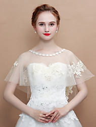 cheap -Sleeveless Tulle Wedding / Birthday Women's Wrap With Pattern / Lace Top Capelets