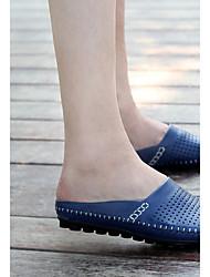 cheap -Men's Shoes Leather Summer Comfort Slippers & Flip-Flops Black / Dark Blue / Yellow