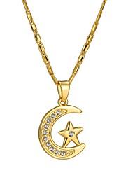 baratos -Mulheres Colares com Pendentes  -  Étnico MOON Estrela Dourado Prata 55cm Colar Para Presente Diário