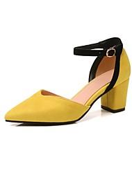 preiswerte -Damen Schuhe maßgeschneiderte Werkstoffe Herbst / Frühling Sommer Komfort High Heels Blockabsatz Offene Spitze Gelb / Rosa / Khaki