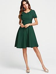 cheap -Women's Vintage Basic Loose Dress - Solid Color, Ruched V Neck