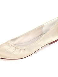 cheap -Women's Shoes Satin Spring & Summer Ballerina Flats Flat Heel Round Toe Side-Draped Royal Blue / Champagne / Ivory / Wedding