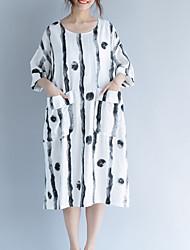 abordables -Femme Basique Tunique Robe - Imprimé, Rayé / Géométrique Midi