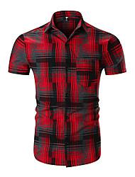 baratos -Homens Camisa Social Activo / Básico Estampa Colorida / Xadrez