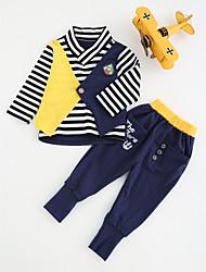abordables -Ensemble de Vêtements Garçon Coton Printemps Automne Manches Longues A Rayures Bleu