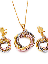 cheap -Women's Thick Chain Jewelry Set - Bohemian, Fashion Include Hoop Earrings / Pendant Necklace / Chain Necklace Gold / Black For Party /