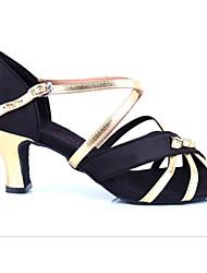 preiswerte -Damen Schuhe für den lateinamerikanischen Tanz Seide Absätze Stöckelabsatz Tanzschuhe Schwarz und Gold / Leistung / Leder / Praxis