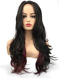 abordables -Perruque Lace Front Synthétique Ondulé Partie médiane Cheveux Synthétiques Synthétique / Perruque afro-américaine Noir Perruque Femme Long Dentelle frontale / Oui