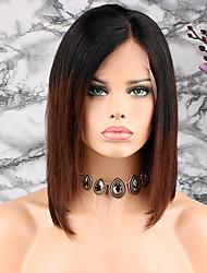 cheap -Remy Human Hair Lace Front Wig Peruvian Hair Straight Wig Bob Haircut / Short Bob 130% Soft / Silky / Women Brown Women's Short Human Hair Lace Wig / Natural Hairline