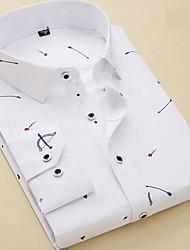 Недорогие -Муж. Рубашка Классический Полоски / Геометрический принт / С короткими рукавами / Длинный рукав