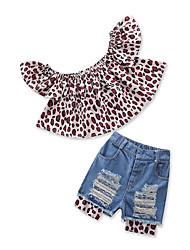 Недорогие -Дети Дети (1-4 лет) Девочки Леопард С короткими рукавами Набор одежды