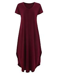 Недорогие -Жен. Классический С летящей юбкой Платье - Однотонный V-образный вырез Макси