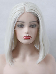 cheap -Synthetic Lace Front Wig Straight Bob Haircut / Middle Part 150% Density Synthetic Hair Heat Resistant / Women / Fashion White Wig Women's Short Lace Front Wig / Yes