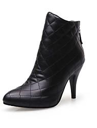 baratos -Mulheres Sapatos Courino Outono & inverno Botas de Montaria / Botas da Moda Botas Salto Agulha Dedo Apontado Botas Curtas / Ankle Branco