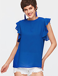 cheap -Women's Going out Blouse - Solid Colored / Ruffle