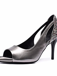 preiswerte -Damen Schuhe Leder Frühling Sommer Pumps High Heels Stöckelabsatz Peep Toe Paillette Schwarz / Silber