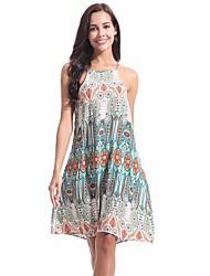 baratos -Mulheres Simples / Básico Evasê Vestido Floral Altura dos Joelhos
