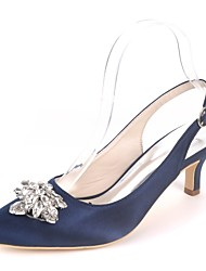 cheap -Women's Shoes Satin Spring & Summer Basic Pump Wedding Shoes Kitten Heel Pointed Toe Rhinestone Royal Blue / Champagne / Ivory