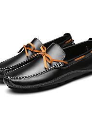 abordables -Hombre Cuero Primavera Confort Calzado de Barco Negro / Marrón / Azul