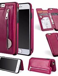 Недорогие -Кейс для Назначение Apple iPhone 6 / iPhone 7 Бумажник для карт / Кошелек / со стендом Чехол Однотонный Твердый Кожа PU для iPhone 8 /